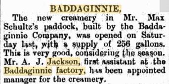 Albert Jackson appointed Creamery Manager Baddaginnie 1902 Benalla Standard from Trove
