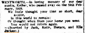 Esther Wentworth White The Argus death notices 21 Feb 1920
