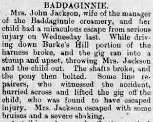 Kate Jackson gig accident 1910 Benalla Ensign