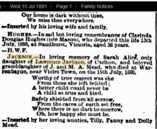 Sarah Jackson death notice The Age 1891